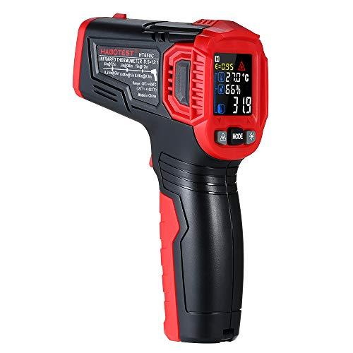 Gecheer Termômetro infravermelho sem contato com infravermelho Testador de temperatura digital portátil Medidor de umidade e temperatura 12: 1 Pirômetro Display LCD colorido com luz de fundo