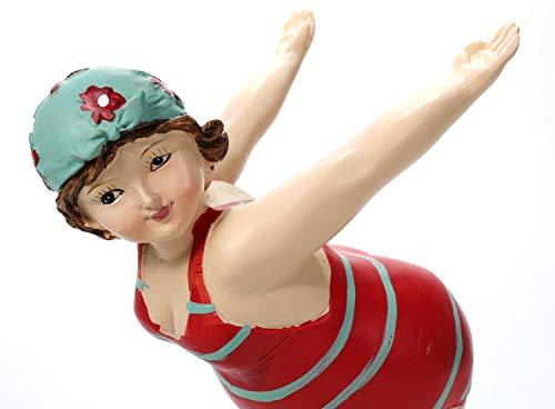 Schwimmerin im roten Badeanzug türkis gestreift startend 19 cm Badenixe Mädchen Rubensfrau mollige Dame Dicke Frau Figur Badezimmer Schwimmen