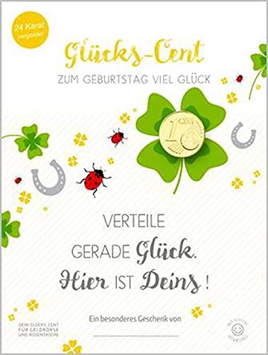 """Gelukscent 24 karaat verguld op kaart """"Zum Geburtstag"""""""