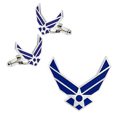 PinMart Silver USAF Air Force Wings Pin and Cufflink Military 2 Piece Bundle