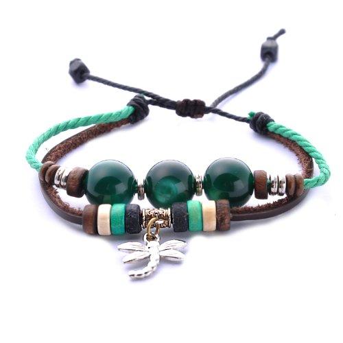 Morella Damen Armband aus Leder mit Perlen und Libellen Anhänger