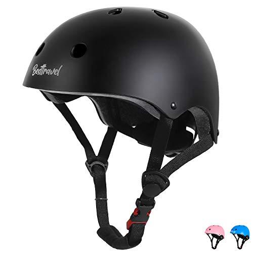 Besttravel Kinder Jugend Fahrradhelm Verstellbarer Schutzhelm Beschützer CE-Zertifizierung für Sport Skateboard Motorrad 3-8 Jahre alt-Schwarz