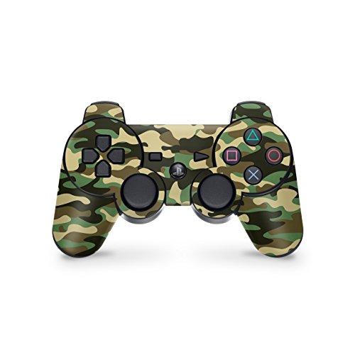 Skins4u Aufkleber für PS3 Controller Skin Designfolie kompatibel mit Playstation 3 Wood Camo