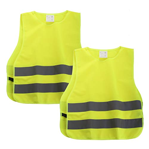 SHYOSUCCE 2 Stück Warnwesten Kinder EN1150, 360 Grad Reflektierende Sicherheitsweste Gelb, Universal Größe XS für Jungs Mädchen(45x40CM)