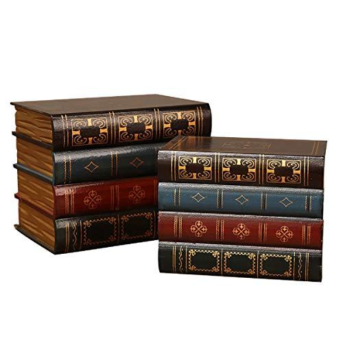 2 piezas falso libro caja vintage almacenamiento libro joyería almacenamiento embalaje estudio libro adornos madera antiguo clásico decorativo falso libro