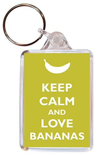Keep Calm and Love Bananas - Double Sided Large Keyring Key Ring Fob Chain Name Tag Souvenir/Gift/Present