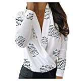 Lukame✯ Nuevas Mujeres de la Moda Con Cuello en V Cuello Blusa Acanalada Blusa Casual Slim Fit Camisa de Manga Larga Camisetas (Blanco,M)