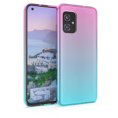 kwmobile Hülle kompatibel mit Asus Zenfone 8 - Handyhülle - Handy Hülle Zwei Farben Pink Blau Transparent