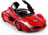 Coche de Control Remoto, 1:18 Vehículo de Juguetes eléctricos, abrirse DIRIGIÓ Light Sports Cars 4 Canales Racing Car Kids Niños Regalos de cumpleaños Detalles auténticos Adultos Muchacho