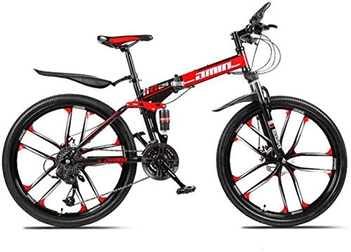 Great Price! HongLianRiven BMX Mountain Bike Folding Bikes, 26Inch 27-Speed Double Disc Brake Full S...