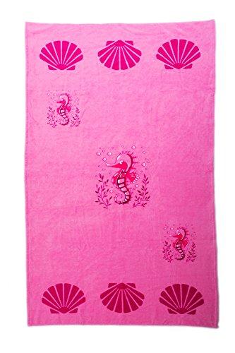 AIREE FAIREE Strandtuch Sommer Handtuch 100% Baumwolle 75 x150 cm Seepferdchen -Muster (Rosa)
