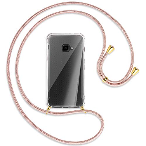 mtb more energy® Handykette kompatibel mit Samsung Galaxy Xcover 4, 4S (SM-G390, G398 / 5.0'') - roségold/Gold - Smartphone Hülle zum Umhängen - Anti Shock Full TPU Hülle