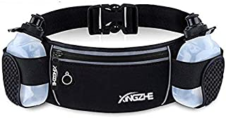 XINGZHE Running Belt Waterproof Waist Pack with 2 Water Bottles - Adjustable Fanny Pouch for Jogging Fitness Gym Cycling W...