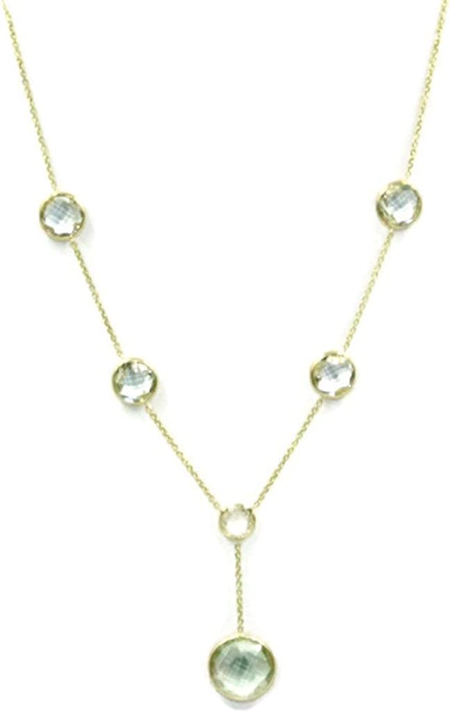Green Amethyst Necklace with Lariat,14K Yellow Gold Spring Lock,4.2 Grams