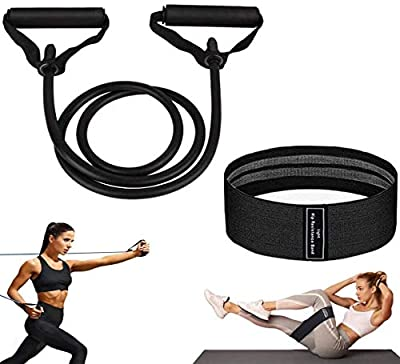 2Pack Resistance Bands Set, Fabric Resistance Bands for Legs and Butt Fitness Bands for Women, Elastic Exercise Bands for Men and Women, Hip Circle Bands for Squat Glute Training