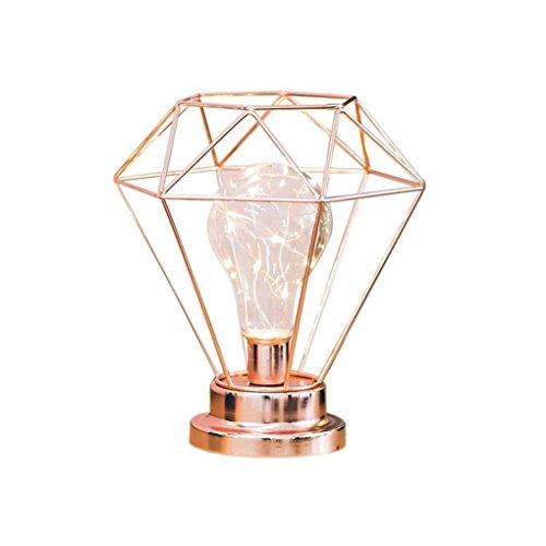 Metall Tischlampe,AntEuro Diamant Nachttischlampe Tischlampe Nordische dekorative Metall Night Light batteriebetrieben Schreibtischlampe(Roségold)