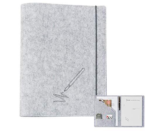 Schreibmappe A4 aus Filz (hellgrau, Farbe wählbar) | Konferenz-Mappe für Block, Dokumente, Blätter, Visitenkarten, Stifthalter