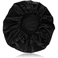 Annie - Ms. Remi Silky Satin Double Cotton Lined Day and Night Cap with Comfort Elastic Band (Extra Jumbo, Black)