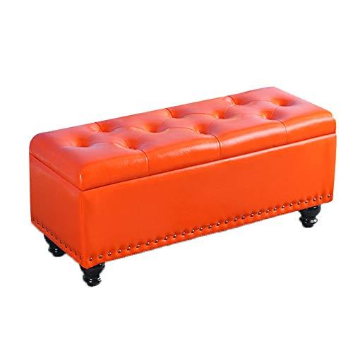 FFZW Zapateros Banco con Espacio de Almacenamiento Otomana Taburete con Asiento Acolchado para Sala de Estar Dormitorio Pasillo (Color : Orange, Size : 120cm)