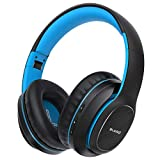 Bluetooth Headphones Over Ear, BLARO Hi-Fi Deep Bass Wireless&Wired Headsets, 72 Hours Playtime, Soft Memory Protein Earmuffs, Foldable Headphones with CVC6.0 Mic-Blue