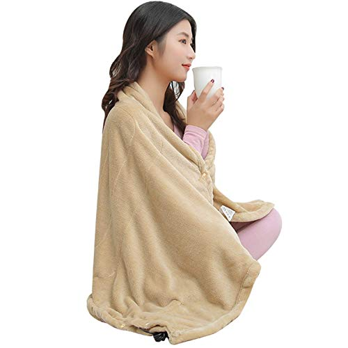 GAOZHEN Portable Size USB Powered Electric Heated Shawl, Full Body Flannel Fast-Heating Heated Throw for Outdoors Stadium Home Office, Machine Washable hiohua