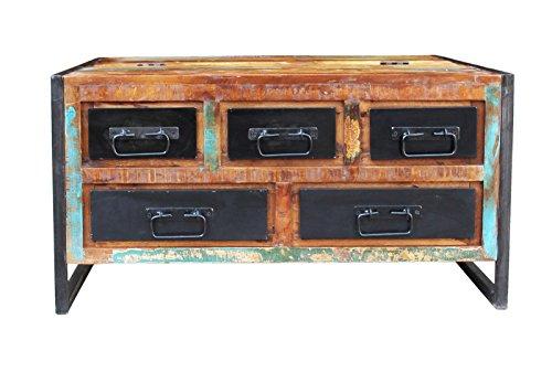 SIT-Möbel Bali 3594-98 Couchtischtruhe mit 6 Schubladen, 1 Klappe, Mangoholz, bunt lackiert, 90 x 90 x 47 cm