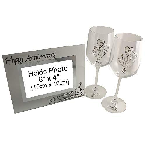 Gepersonaliseerde 15e kristallen bruiloft verjaardag wijnglazen en fotolijst Gi.