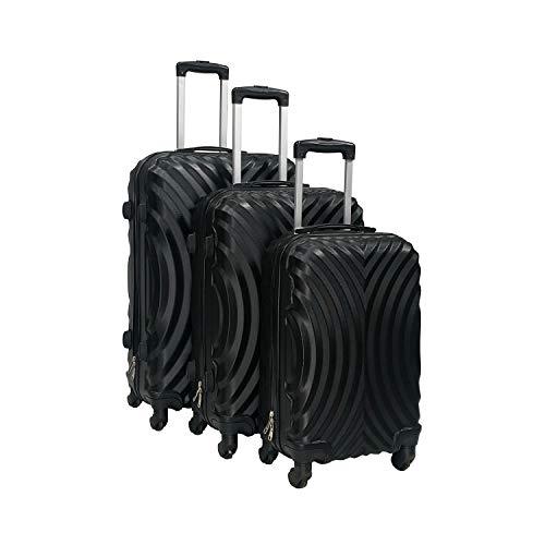 Totò Piccinni Set Valigie Trolley Ibiza con guscio rigido di ottima qualità con 4 rotelle pivotanti (Nero, Set 3 Valigie)