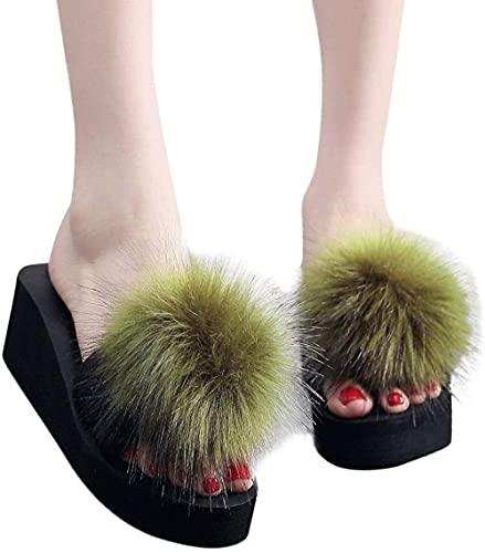 LONGJIQ Diapositivas de Piel de Mujer Zapatos de Verano Mujer Mujer de Lujo Zapatillas peludas Femenino Plataforma Sandalias de Piel mullida Zapatos de hogar (-39 i_Ejercito Verde Fantastic