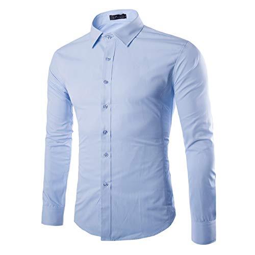 Camisa de Manga Larga para Hombre Primavera y otoño Camisa Ajustada de Moda de Color sólido Simple Camisa de Manga Larga Informal de Oficina de Negocios XXL