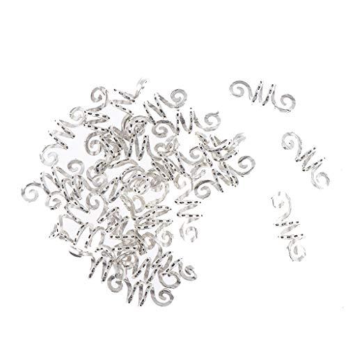 Homyl 30 Stück Aluminium Dreadlocks Perlen Metall Manschetten Haar Wraps Haar Flechten Perlen Schmuck Haarschmuck Zubehör