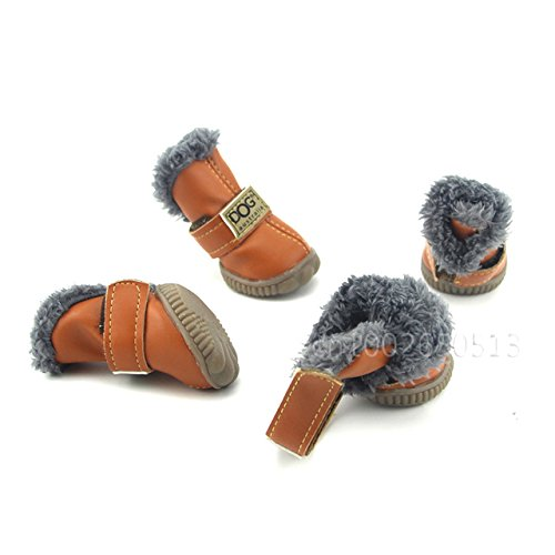 Lppanian Pfotenschutz 4 Teile/Satz Winter Haustier Hund Schuhe wasserdichte Warme Schneeschuhe Für Kleine Hunde Chihuahua Anti Slip Sneaker Haustiere Outdoor Supply Waren Größe 4 Kaffee