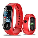 CHEYENNE Braccialetto Fitness Tracker Orologio Cardiofrequenzimetro,M3 GPS Impermeabile IP67 Pressione Sanguigna per Donna Uomo Colore Touch Screen (Rosso)