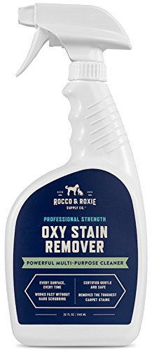 Rocco & Roxie Oxy Stain Remover - Oxygen Powered Spot Carpet Cleaner - Professional Strength Cleaning Supplies - Pet Stains Disappear - Quickly Remove Upholstery or Laundry Stains - 32 Oz.