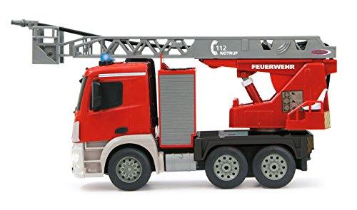 RC Auto kaufen Feuerwehr Bild 4: Jamara 404960 - Feuerwehr Drehleiter 1:20 Mercedes Antos 2,4G – deutsche Sirene mit blauen LED Signallichtern, 420 ml Wasserbehälter, reale Spritzfunktion, programmierbare Funktionen, 4 Radantrieb*