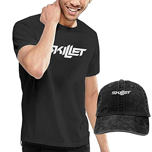 Lsjuee Classic Skillet Short Sleeves Sweatshirts Men's T-Shirt Patterns Breathable Leisure Summer Casual Print Tee with Hat(Cotton) Black