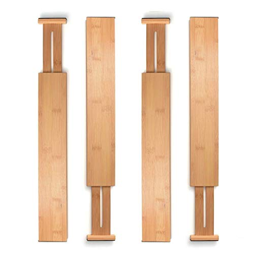 Bamboo Drawer Divider Set of 4 - Kitchen Drawer Organizer Spring Adjustable & Expendable Drawer Dividers - Best for Kitchen, Dresser, Bedroom, Desk