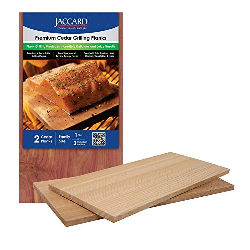 Jaccard 201408 Premium Cedar Plank, Large, (2-planks). Grilling Accessories – Wooden Plank Serving Board