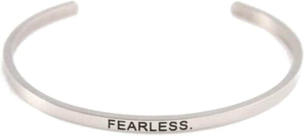 Stackable Stainless Steel Inspiration Mantra Cuff Bangle Bracelet Graduation Gift