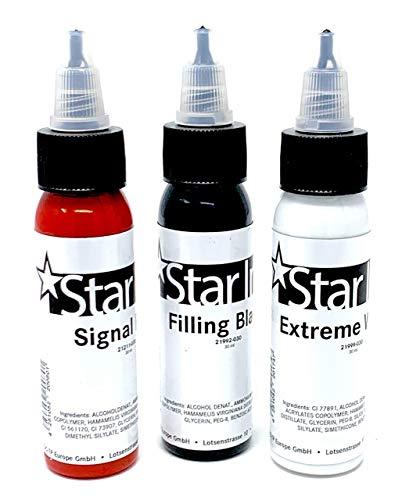 Étoile Encre - Farbset, Important Couleurs - Noir - Blanc - Rouge - Allemand Premium - 3x30ml - Fabriqué en Allemagne avec Certificat - Inkgrafix - IG51073 Signal, Vif, Noir,Blanc,Rouge