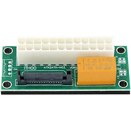 com-four® Dual Power Netzteil Adapter PSU ATX 24 PIN zu SATA 15 PIN Board für die Synchronisierung von Netzteilen für Mining, Mining-Systeme wie Bitcoin, Ethereum (01 Stück - Adapter ATX zu SATA)