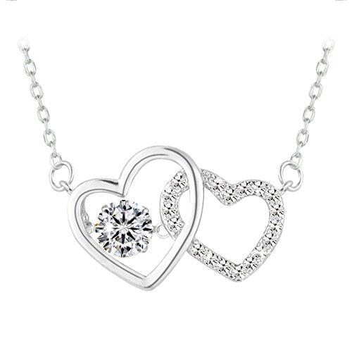 Le Premium® Corazón de Plata esterlina Junto Collar de Piedra Que Baila Los Regalos para la Amante Amante Hija-Cristalina