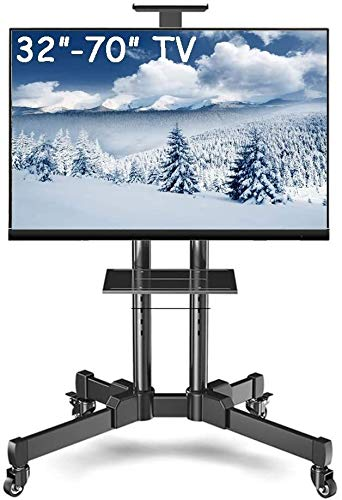 WJJ Soporte TV Pared Soporte TV TV Soporte de Suelo for 32-70 Pulgadas de TV, con articulación Universal de la Carretilla, Negro de Acero, Carga 75kg