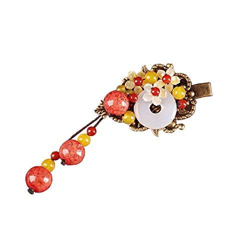 Jiu Bu Style Ethnique, Coquille Sculptée Naturelle, Cercle Chanceux, Fleur, Pinces à Cheveux Vintage Epingle à Cheveux, Multicolore,Multi-colored-one