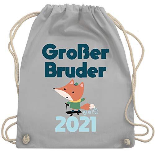 Shirtracer Geschwister Bruder - Großer Bruder 2021 Fuchs - Unisize - Hellgrau - Geschwister - WM110 - Turnbeutel und Stoffbeutel aus Baumwolle