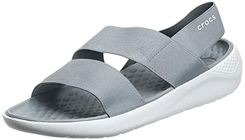 Crocs Women's LiteRide Stretch Sandals, Light Grey/White, 9