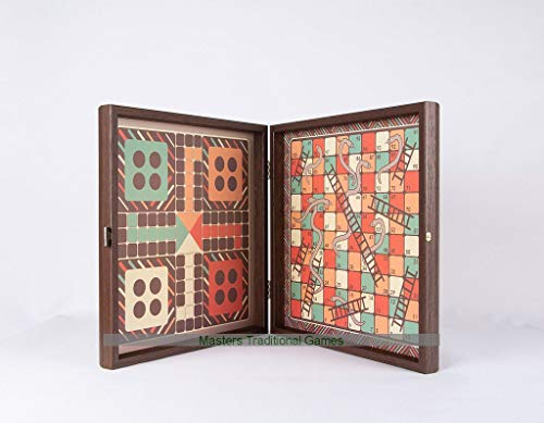 Manopoulos Chess, Backgammon, Ludo, Snakes and Ladders Wooden Games Compendium