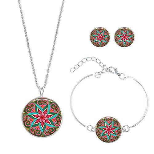 msyou 4piezas/juego de joyas de mandala flor Styling Halskette Ohrringe Armband joyas adornos para hochzeitsbankett Party 2 * 2 * 1.4cm Style 3