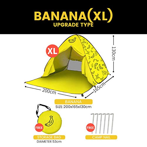 MARKOO Tents for Beach Picnic Tents Sun Shelter, Aotomatic Pop Up Foldable Portable Tents for Beach Outdoor Tents,Banana - UG - XL