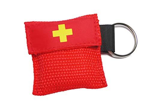 Worldconnection Beatmungsmaske Beatmungstuch Schlüsselanhänger Beatmungsfolie rot CPR Maske